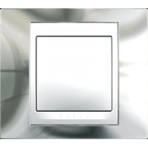 Рамки Unica Top - Блестящий хром/Белый