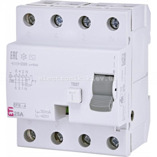 Реле диференциальное (УЗО) EFI6-4 25/0,03 тип AC (6kA) ETI