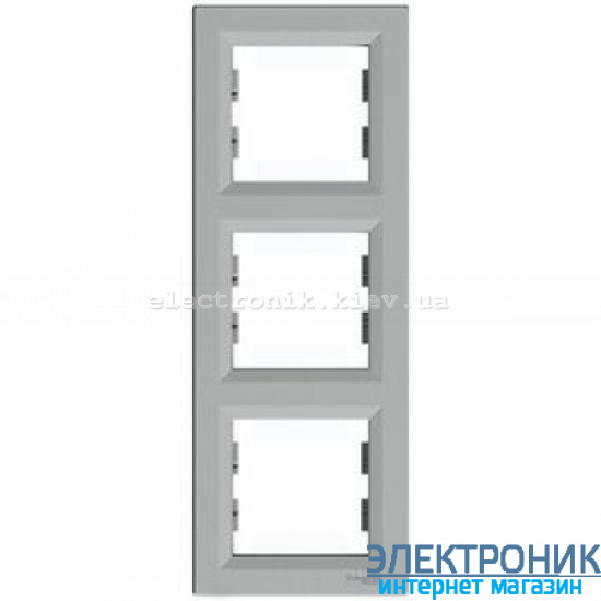 Рамка Schneider (Шнайдер) Asfora Plus 3-постовая вертикальная алюминий