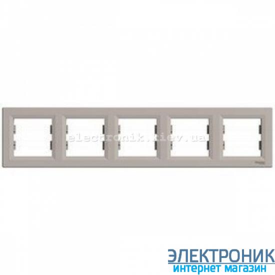Рамка Schneider (Шнайдер) Asfora Plus 5-постовая горизонтальная бронза