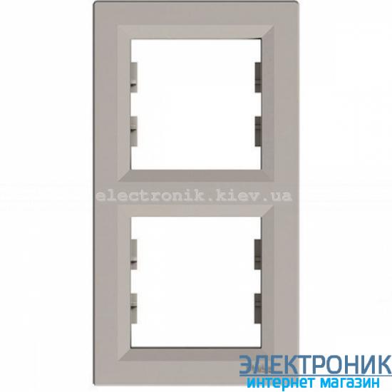 Рамка Schneider (Шнайдер) Asfora Plus 2-постовая вертикальная бронза