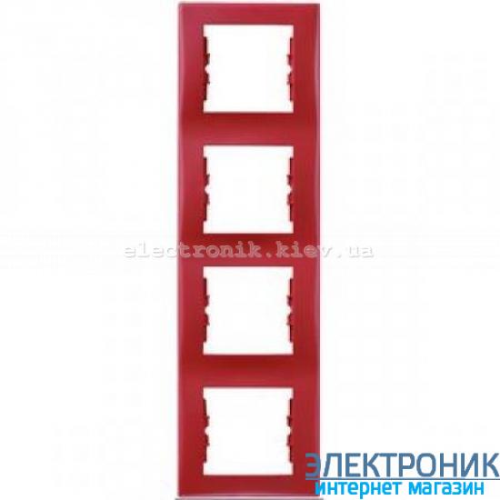Рамка Schneider (Шнайдер) Sedna 4-постовая вертикальная красный