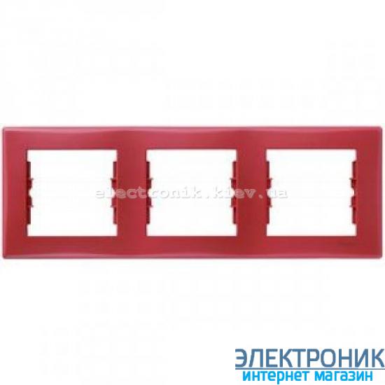 Рамка Schneider (Шнайдер) Sedna 3-поста горизонтальная красный