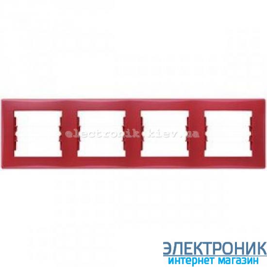 Рамка Schneider (Шнайдер) Sedna 4-поста горизонтальная красный