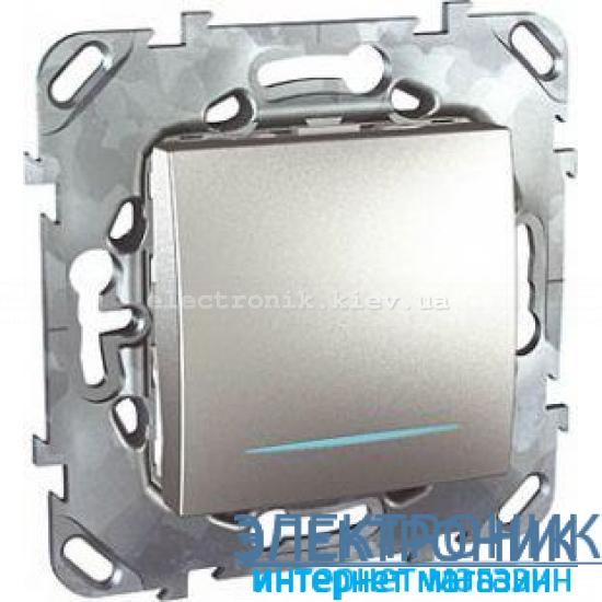 Schneider (Шнайдер) Unica алюминий выключатель проходной с подсветкой