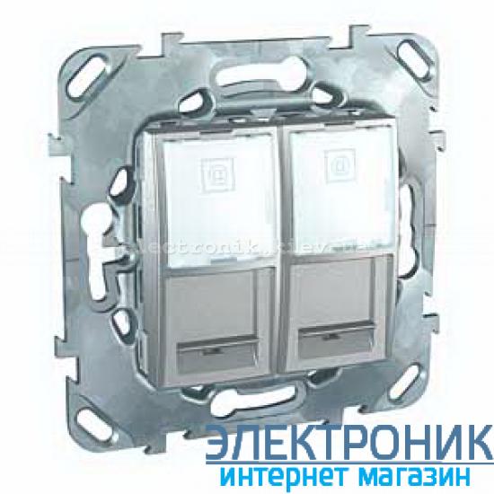 Schneider (Шнайдер) Unica алюминий компьютерная двойная розетка 2хRJ45 кат. 5e