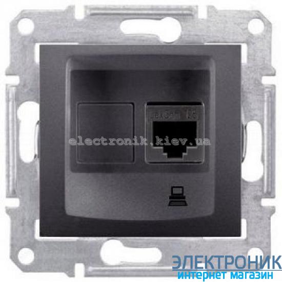 Розетка Schneider (Шнайдер) Sedna компьютерная UTP кат. 5е графит