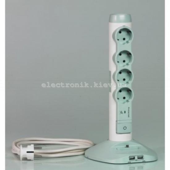 Мультимедийный удлинитель  4 гнезда с заземлением  2м 2хUSB 1хmicro USB бело-серый Legrand