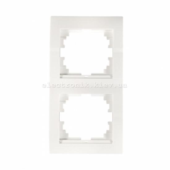 Рамка 2-ая вертикальная LEZARD DERIY белый