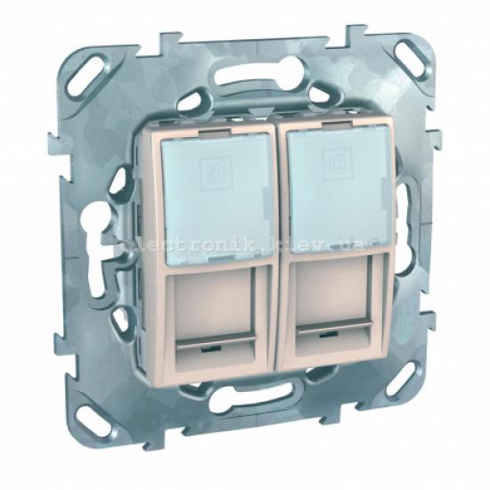 Schneider (Шнайдер) Unica слоновая кость компьютерная розетка 1хRJ45 кат. 5е + Телефонная розетка RJ11