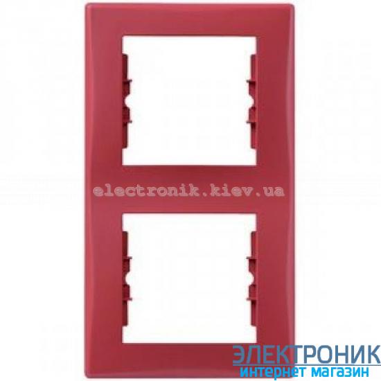 Рамка Schneider (Шнайдер) Sedna 2-постовая вертикальная красный