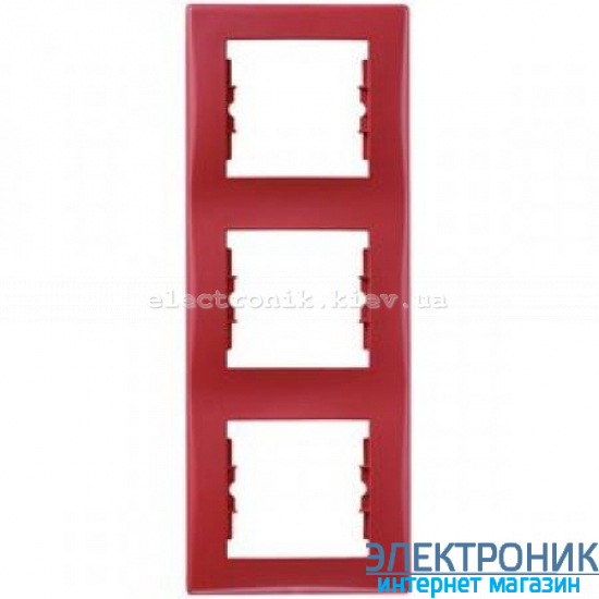 Рамка Schneider (Шнайдер) Sedna 3-поста вертикальная красный