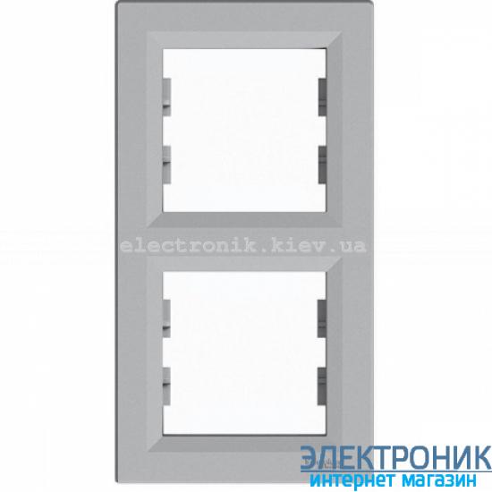 Рамка Schneider (Шнайдер) Asfora Plus 2-постовая вертикальная алюминий