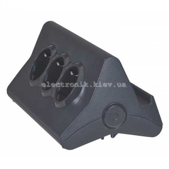 Удлинителей с держателем для планшета. 3 розетки 2К+З, 2 розъема USB, кабель 1,5 м, 3680 Вт, цвет черный