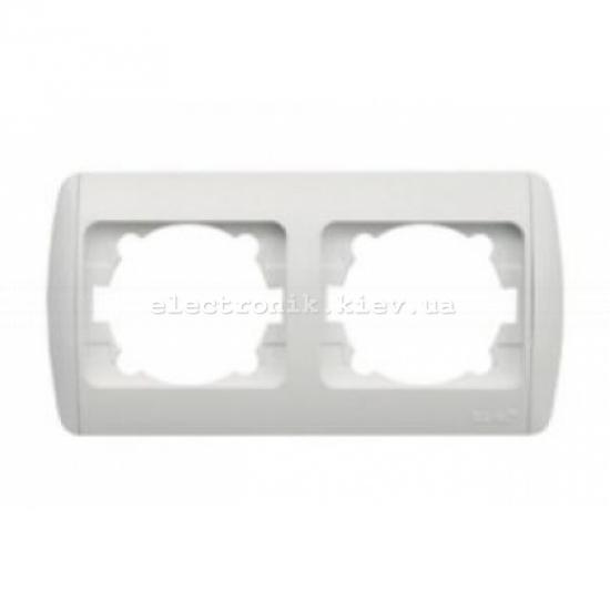 Рамка 2-кратная горизонтальная, белая,белые вставки EL-BI Zirve Fixline