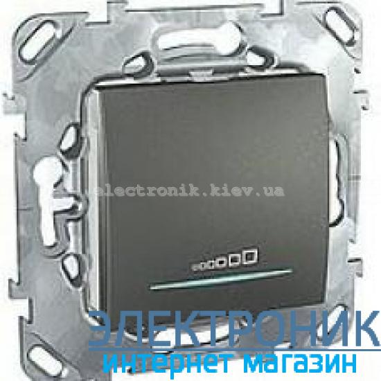 Schneider (Шнайдер) Unica графит диммер нажимной для любого типа нагрузки 20-350VA