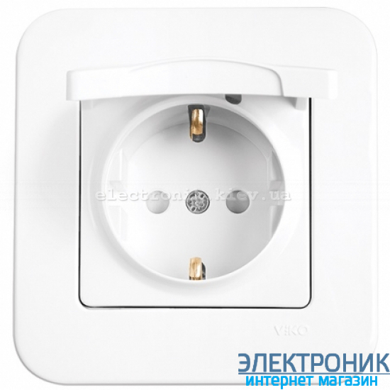 Розетка с крышкой и защитными шторками VIKO Rollina (с заземлением) Белая (90420012)