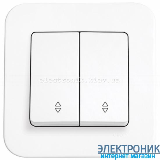 Выключатель проходной двухклавишный VIKO Rollina Белый (90420017)