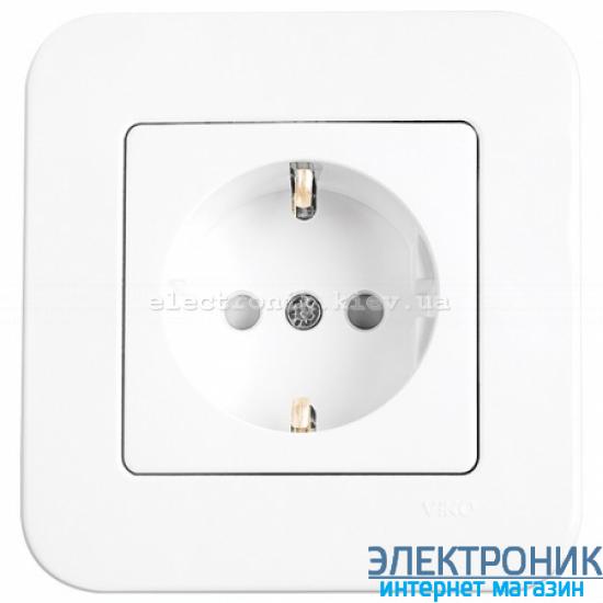 Розетка с защитными шторками VIKO Rollina (с заземлением) Белая (90420042)