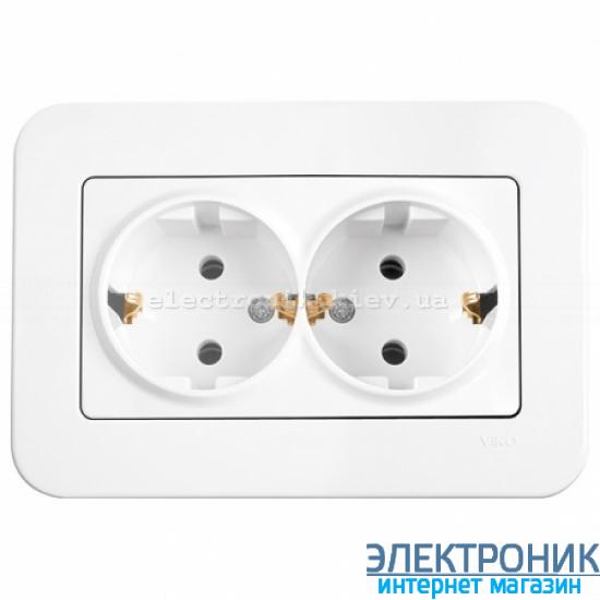 Розетка двойная VIKO Rollina (с заземлением) Белая (90420056)