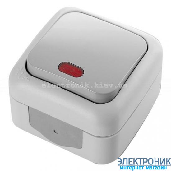 VIKO PALMIYE СЕРЫЙ Выключатель влагозащищенный с подсветкой
