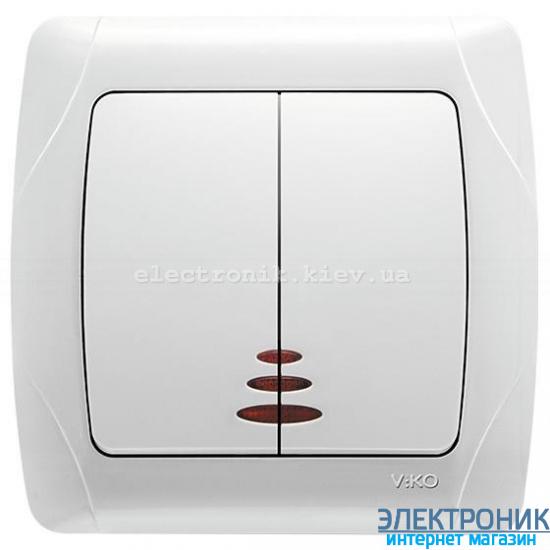 VIKO CARMEN БЕЛЫЙ Выключатель двойной с подсветкой