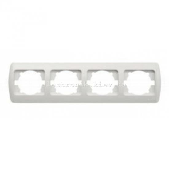 Рамка 4-кратная горизонтальная, белая,белые вставки EL-BI Zirve Fixline