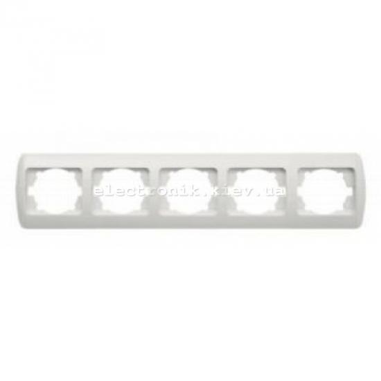 Рамка 5-кратная горизонтальная, белая,белые вставки EL-BI Zirve Fixline