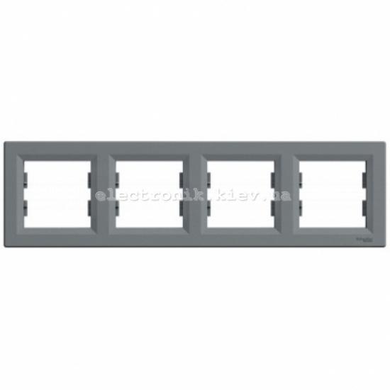 Рамка Schneider (Шнайдер) Asfora Plus 4-постовая горизонтальная сталь