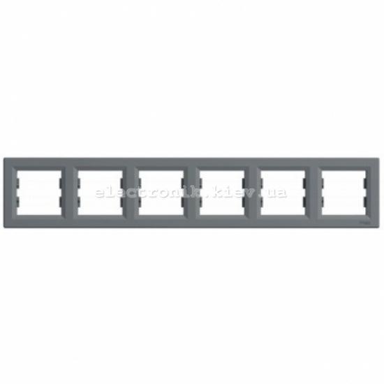 Рамка Schneider (Шнайдер) Asfora Plus 6-постовая горизонтальная сталь