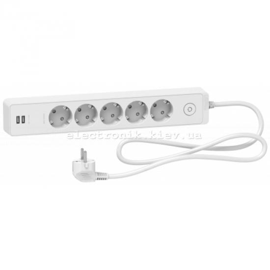Удлинитель 5-й с заземлением+2*USB белый 1.5 метра Schneider Unica Extend