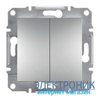 Переключатель Schneider (Шнайдер) Asfora Plus 2-клавишный проходной алюминий