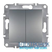 Переключатель Schneider (Шнайдер) Asfora Plus 2-клавишный проходной сталь