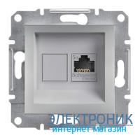 Розетка Schneider (Шнайдер) Asfora Plus компьютерная RJ45 кат. 5е UTP алюминий