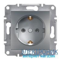 Розетка Schneider (Шнайдер) Asfora Plus с заземлением сталь