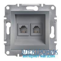 Розетка Schneider (Шнайдер) Asfora Plus телефонная двойная RJ11 сталь