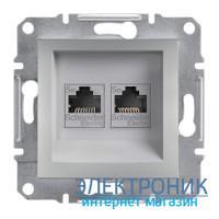 Розетка Schneider (Шнайдер) Asfora Plus телефонная+компьютерная двойная алюминий