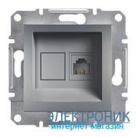 Розетка Schneider (Шнайдер) Asfora Plus телефонная RJ11 сталь