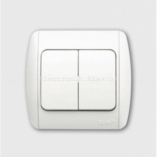 Выключатель 2-клавишный белый EL-BI Zirve Fixline