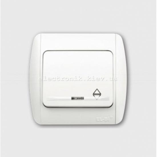 Выключатель 1-клавишный проходной с подсветкой белый EL-BI Zirve Fixline