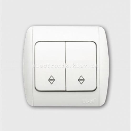 Выключатель 2-клавишный проходной белый EL-BI Zirve Fixline