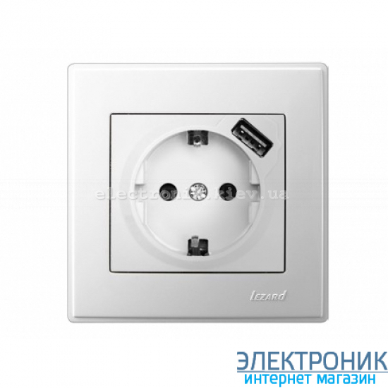 LESYA БЕЛЫЙ Розетка с/з+ USB зарядка