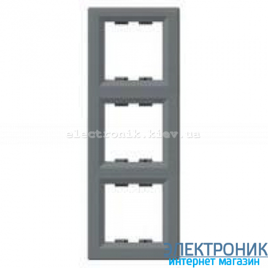 Рамка Schneider (Шнайдер) Asfora Plus 3-постовая вертикальная сталь