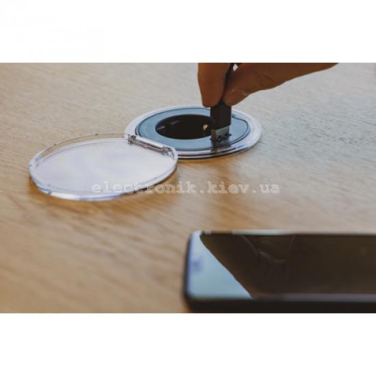 Врезной блок розетки с заземлением + USB тип А , Schneider Unica цвет антрацит