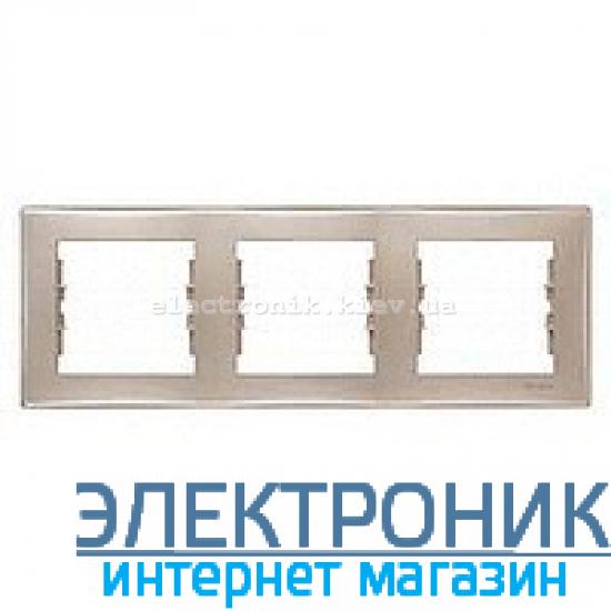 Рамка Schneider (Шнайдер) Sedna 3-поста горизонтальная титан