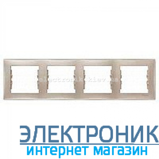 Рамка Schneider (Шнайдер) Sedna 4-поста горизонтальная титан