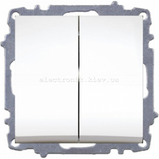 Механизм Выключатель двухклавишный EL-BI Zena белый