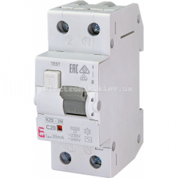 Диф. автоматический выключатель KZS-2M C 20/0,03 тип AC (10kA) ETI
