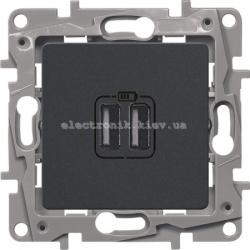 Розетка USB Legrand Etika для зарядки двойная антрацит