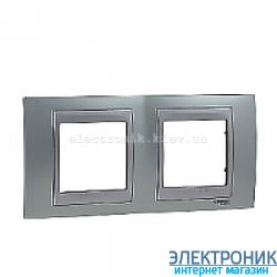 Рамка 2-я горизонтальная Schneider Electric Unica Top Изумрудный/Алюминий